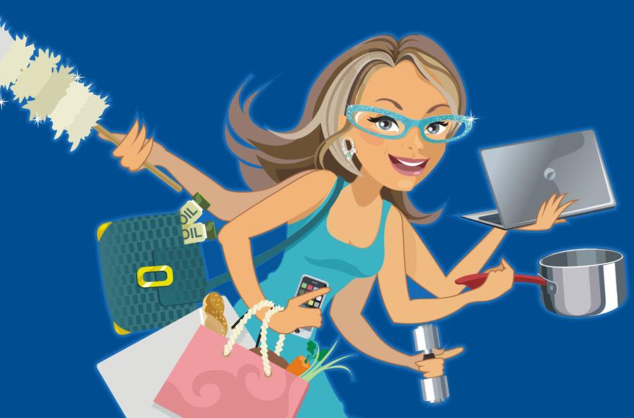 vector illustration - multi-tasking character