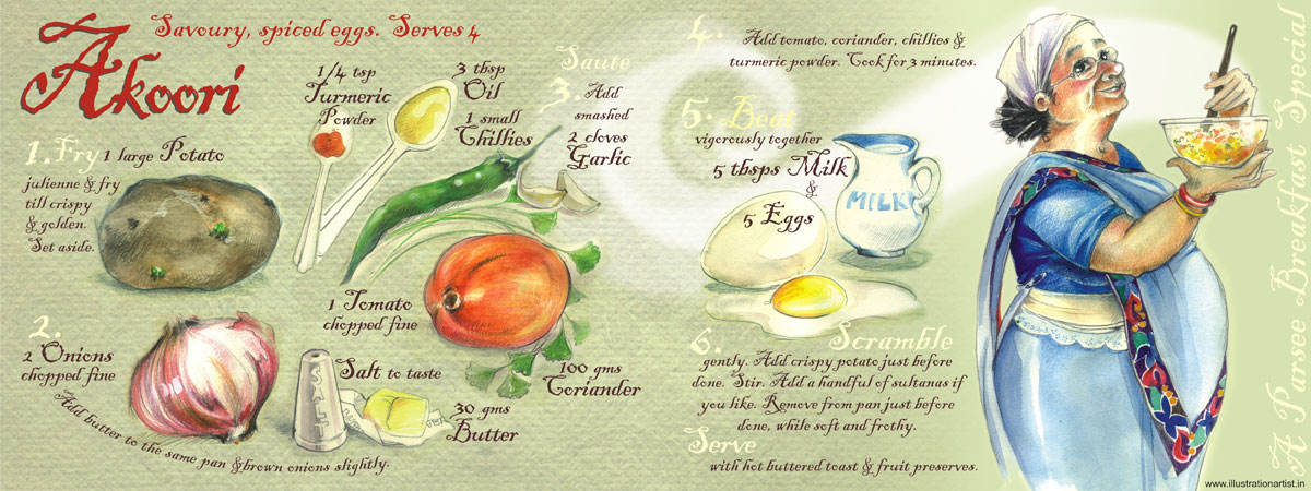 breakfast recipe illustration - Akoori. By Niloufer Wadia