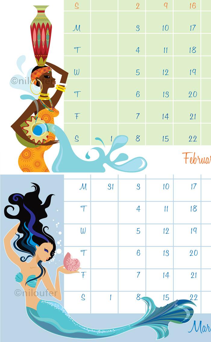 Zodiac sign calendar ©Niloufer